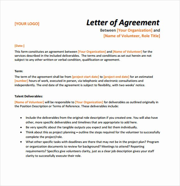9 Letter Of Agreement Samples