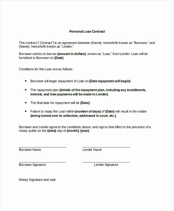 9 Loan Contract Templates Docs Word