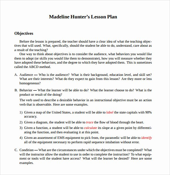 9 Madeline Hunter Lesson Plan Templates Download for Free