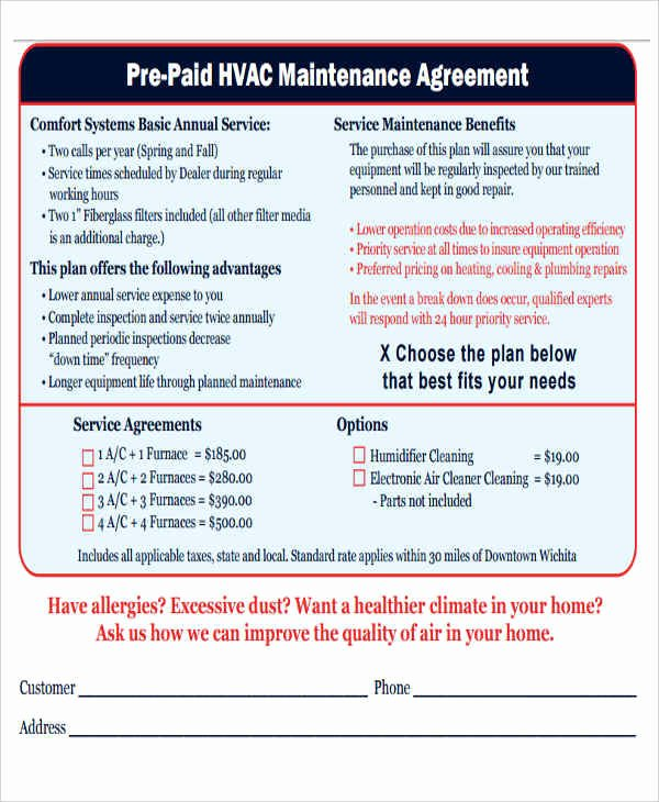 9 Maintenance Agreement – Free Downloadable Samples