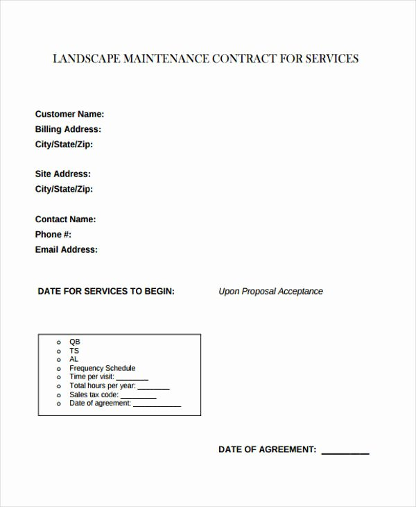 9 Maintenance Contract Templates Free Sample Example