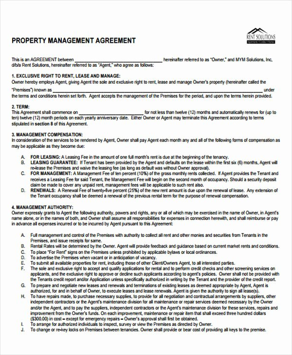 9 Management Agreement Templates Free Sample Example