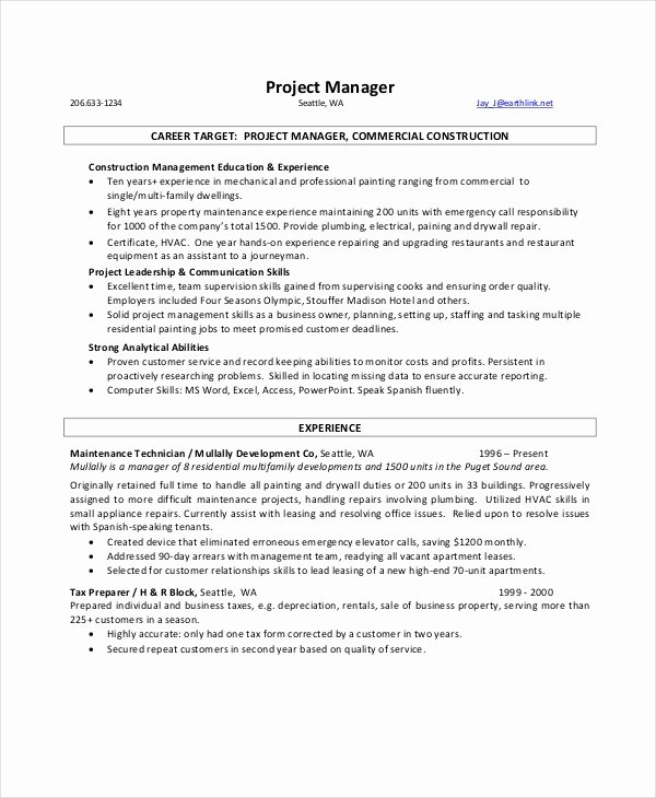 9 Manager Resume Templates Pdf Doc