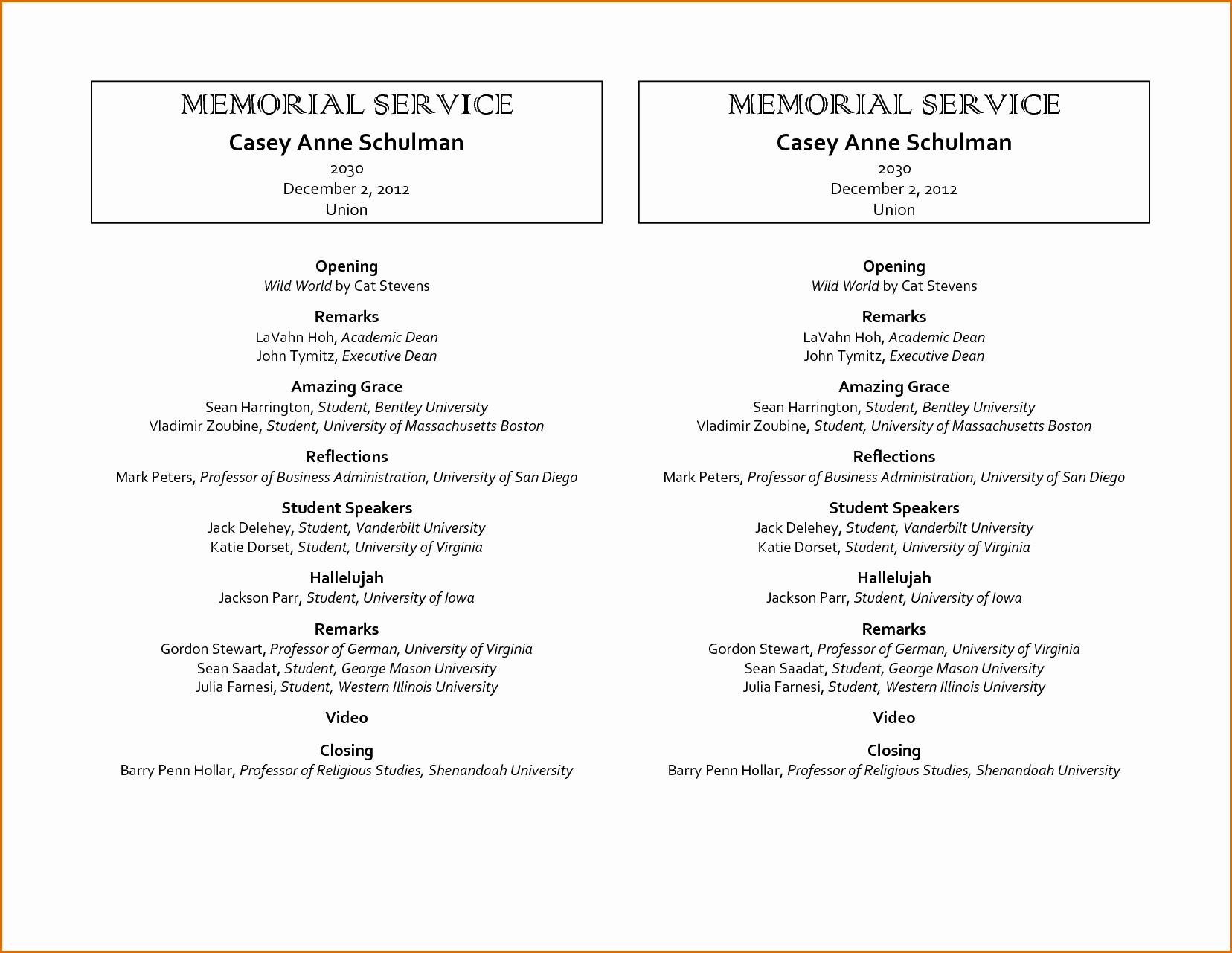 9 Memorial Service Program Template