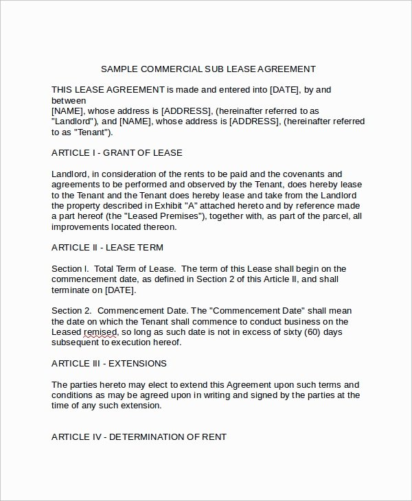 9 Mercial Sublease Agreements