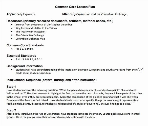 9 Mon Core Lesson Plan Samples