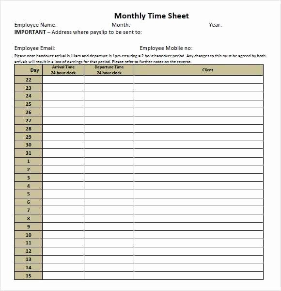 9 Monthly Timesheet Templates Excel Templates