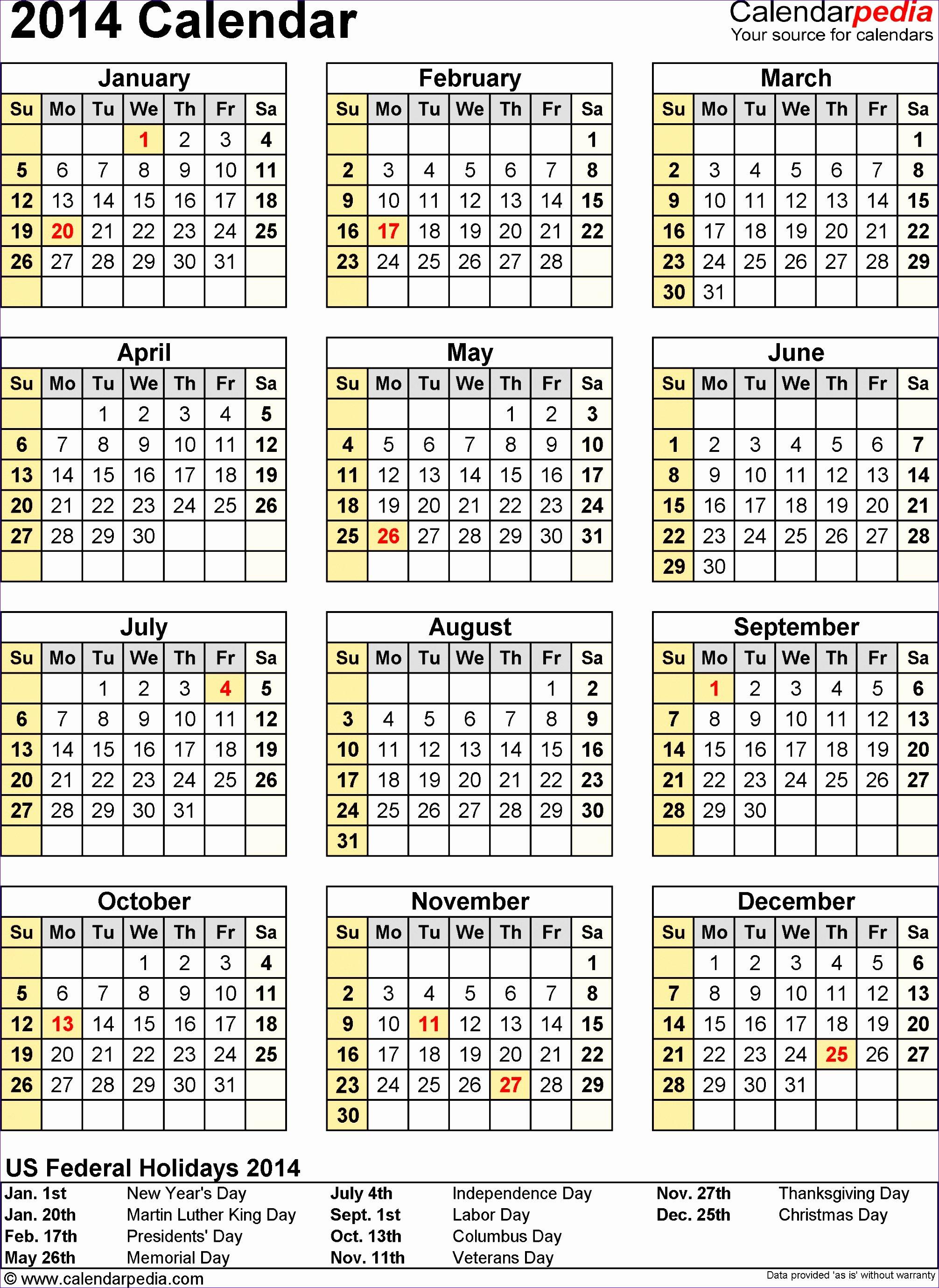 9 Ms Excel Calendar Template 2014 Exceltemplates
