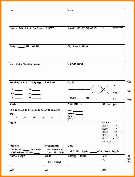 9 Nurse Report Sheet Template