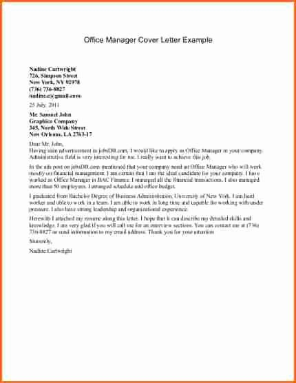 9 Office Manager Cover Letter Bud Template Letter