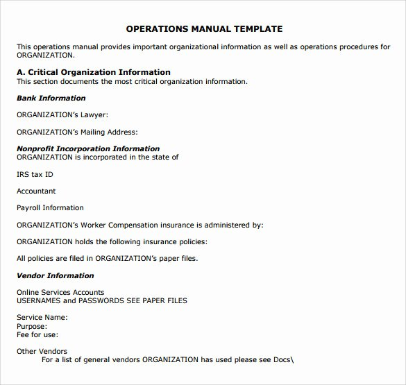 9 Operations Manual Samples