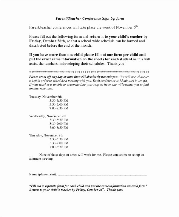 9 Parent Teacher Conference forms Free Sample Example