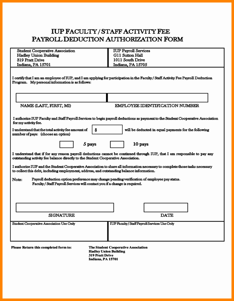 9 Payroll Deduction Authorization form