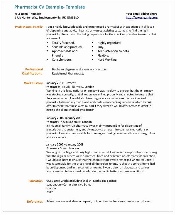 9 Pharmacist Curriculum Vitae Templates Pdf Doc