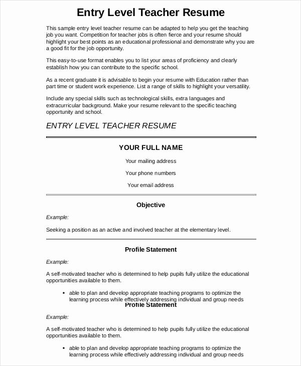 9 Preschool Teacher Resume Templates Pdf Doc