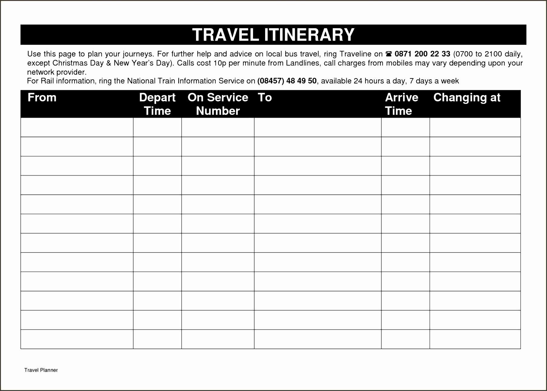 9 Printable Business Travel Plan Sampletemplatess