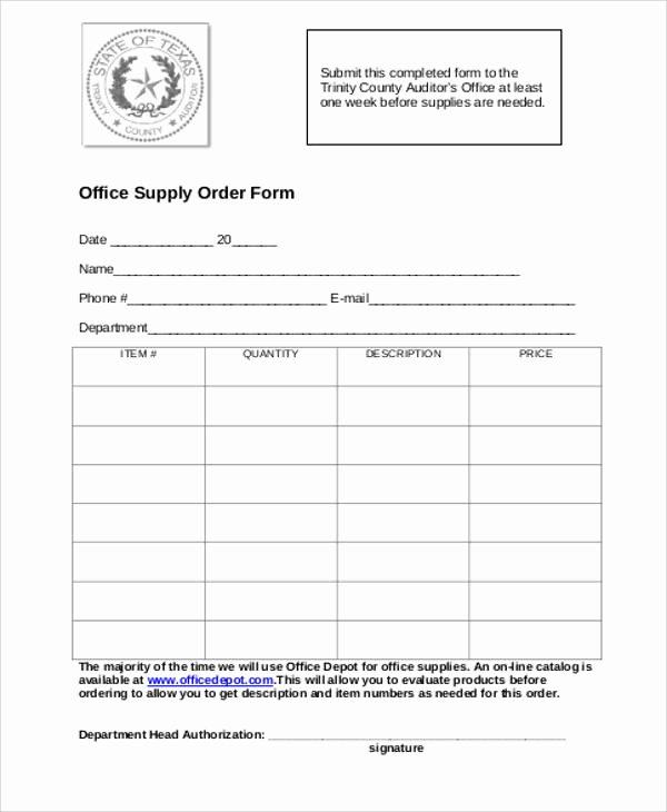 9 Printable order form Samples