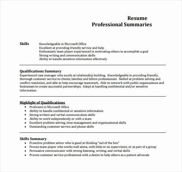 professional summary template