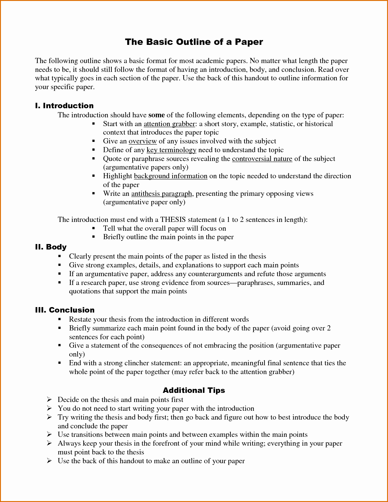 9 Research Paper Outline Template