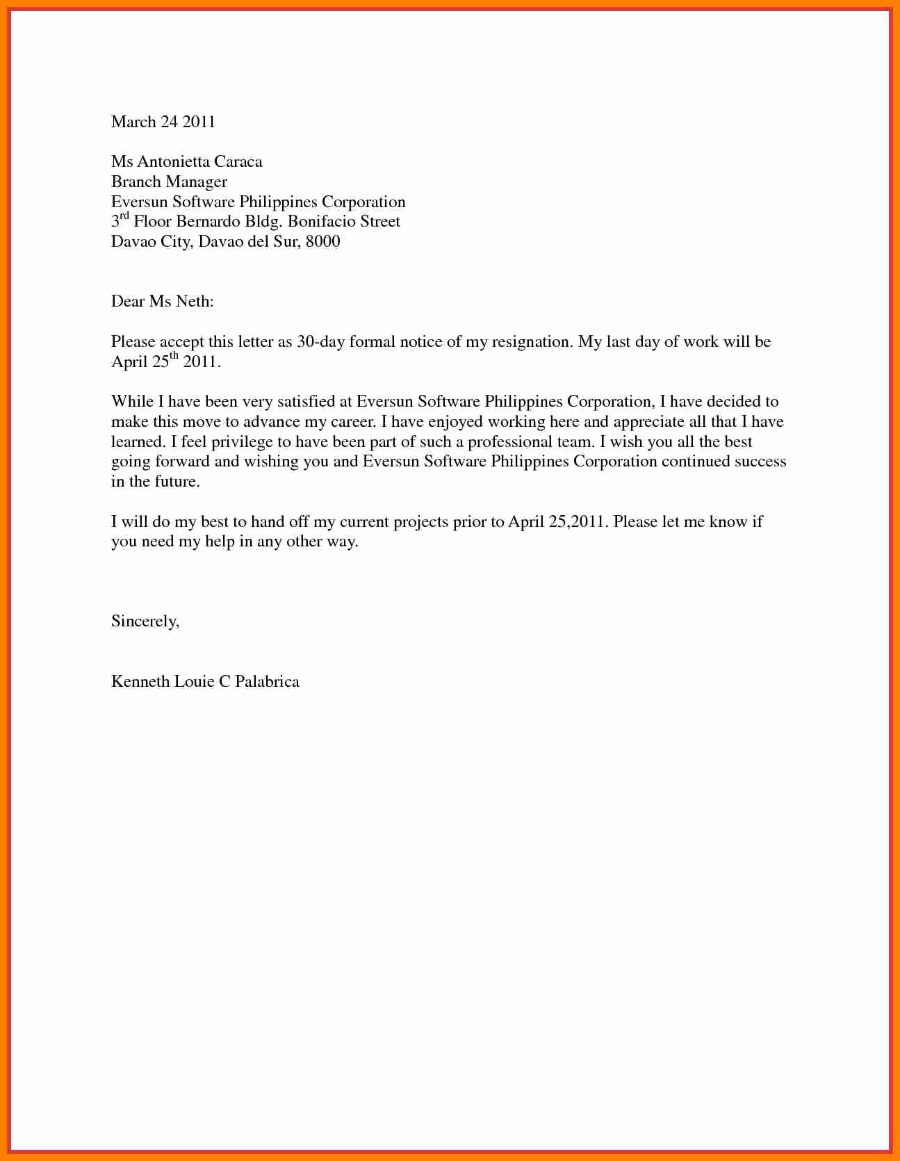 9 Resignation Letter 30 Days Notice