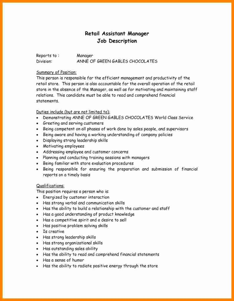 9 Retail Manager Job Description