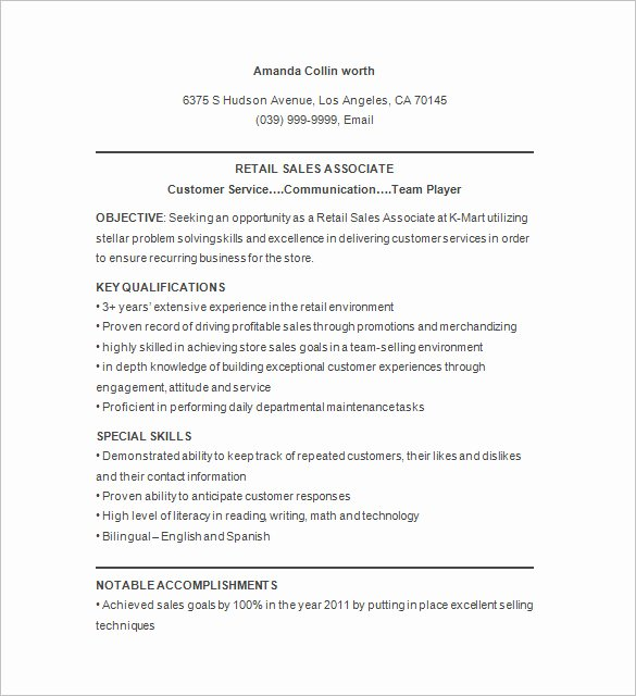 9 Retail Resume Templates Doc Pdf