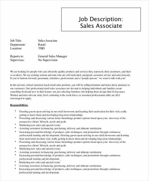 9 Sales associate Job Description Samples