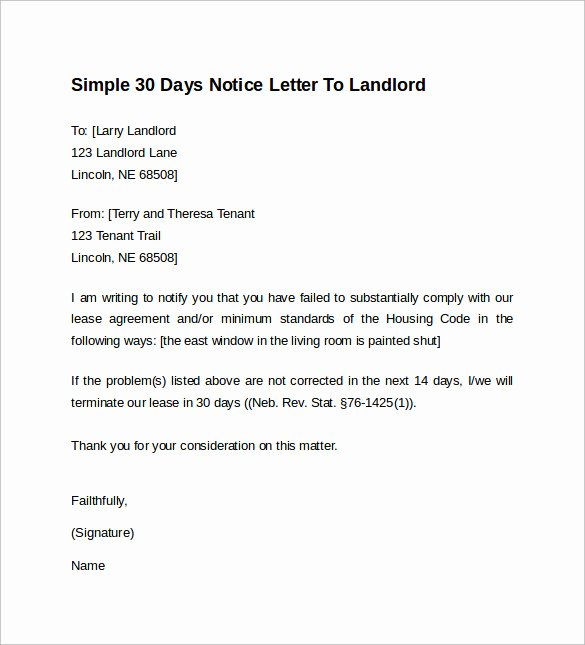 9 Sample 30 Days Notice Letters to Landlord In Word
