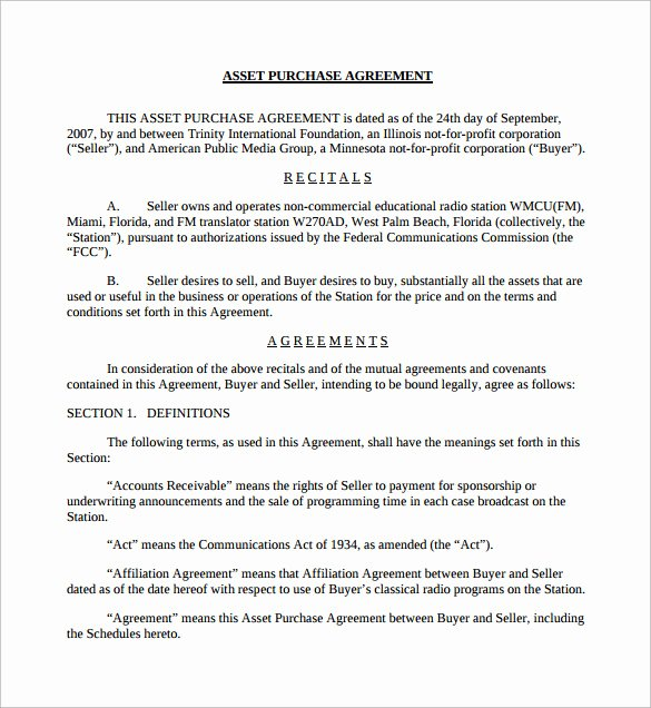 9 Sample asset Purchase Agreement Templates