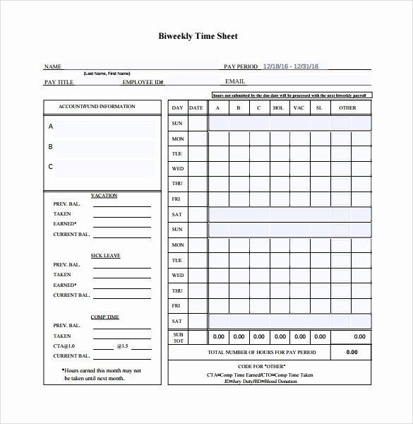9 Sample Biweekly Timesheet Templates to Download