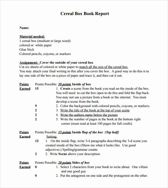 9 Sample Cereal Box Book Reports