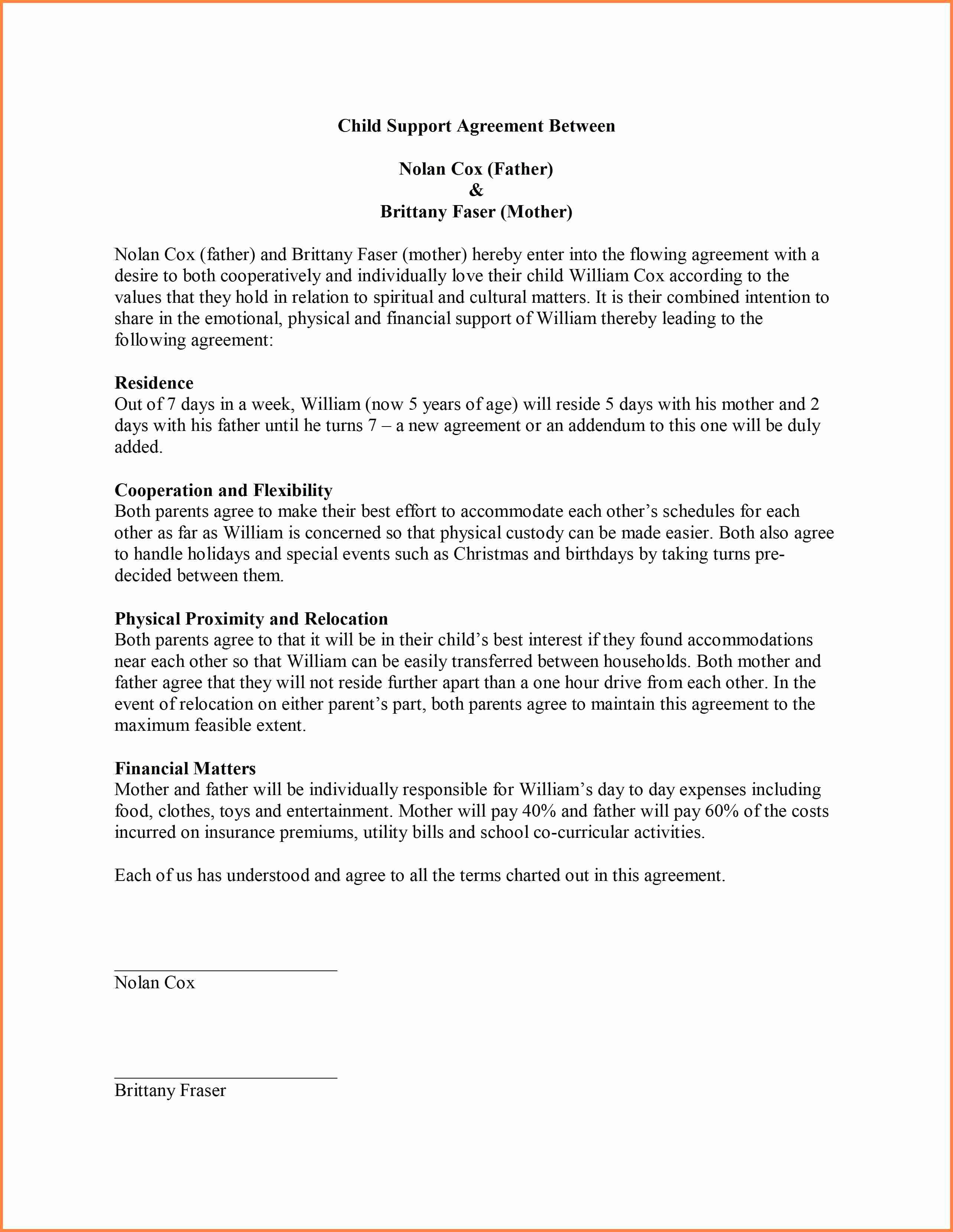 9 Sample Child Support Agreement Letter Template