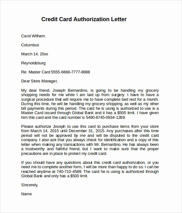9 Sample Credit Card Authorization Letter – Free