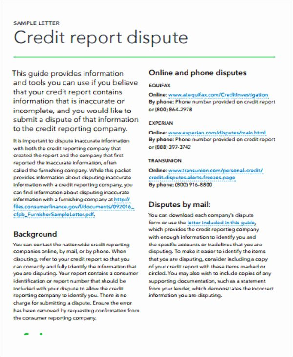 9 Sample Credit Report Free Samples Examples format