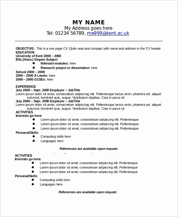 9 Sample E Page Resumes
