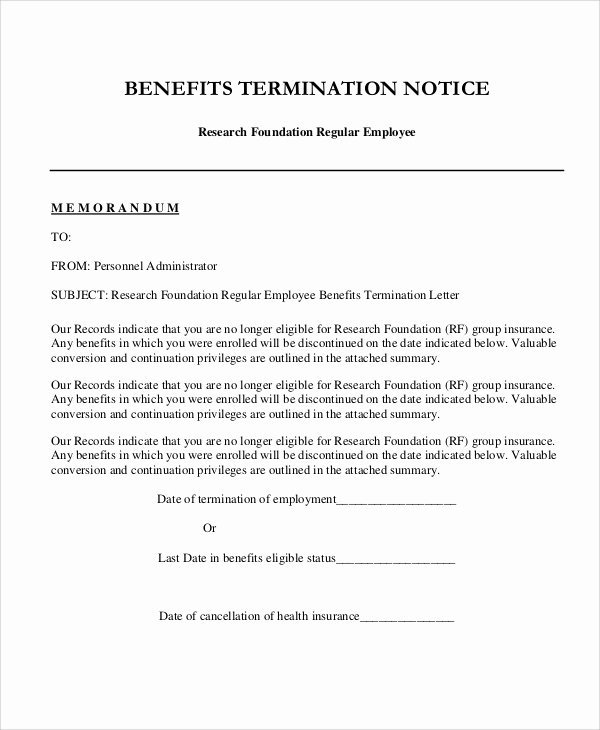 9 Sample Employee Termination Letters – Word Pdf Pages