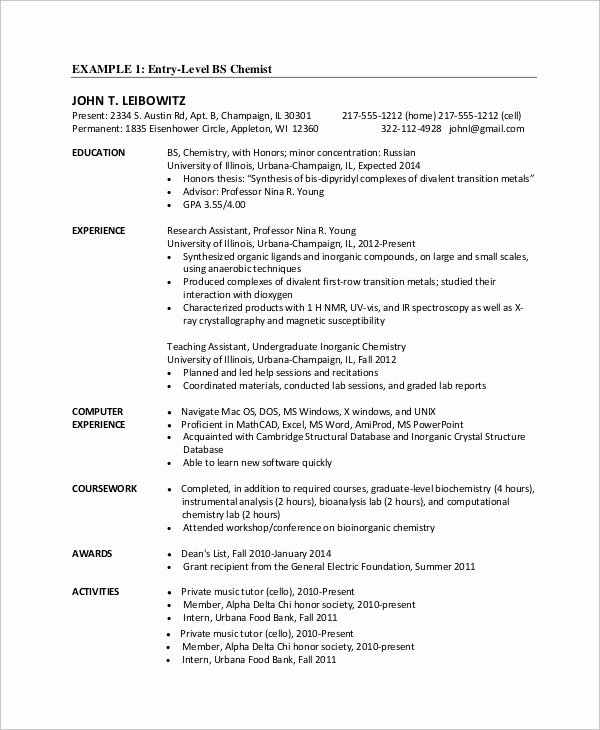 9 Sample Entry Level Resumes