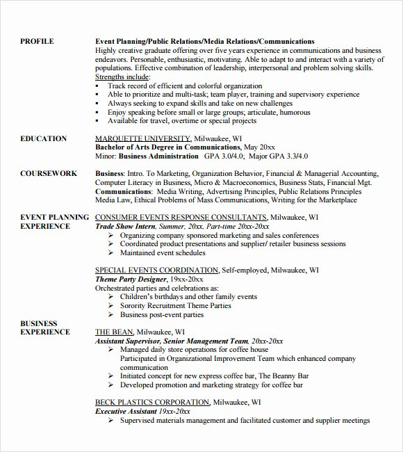 9 Sample event Planner Resumes