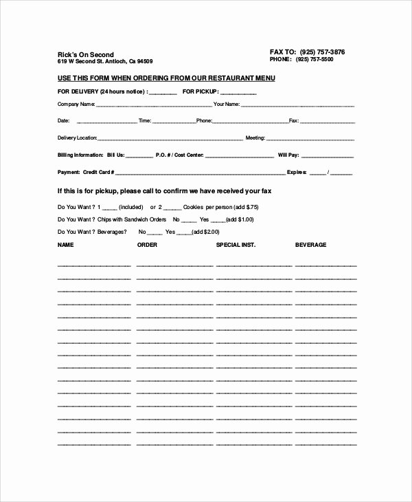 9 Sample Food order forms