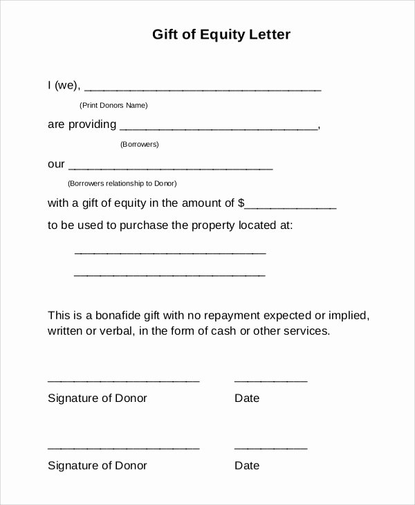 9 Sample Gift Letters – Pdf Word