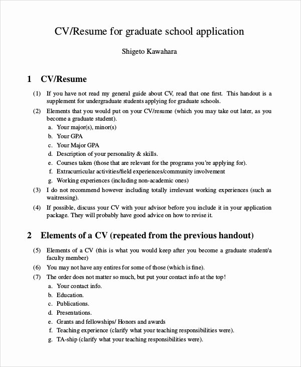 9 Sample Graduate School Resumes