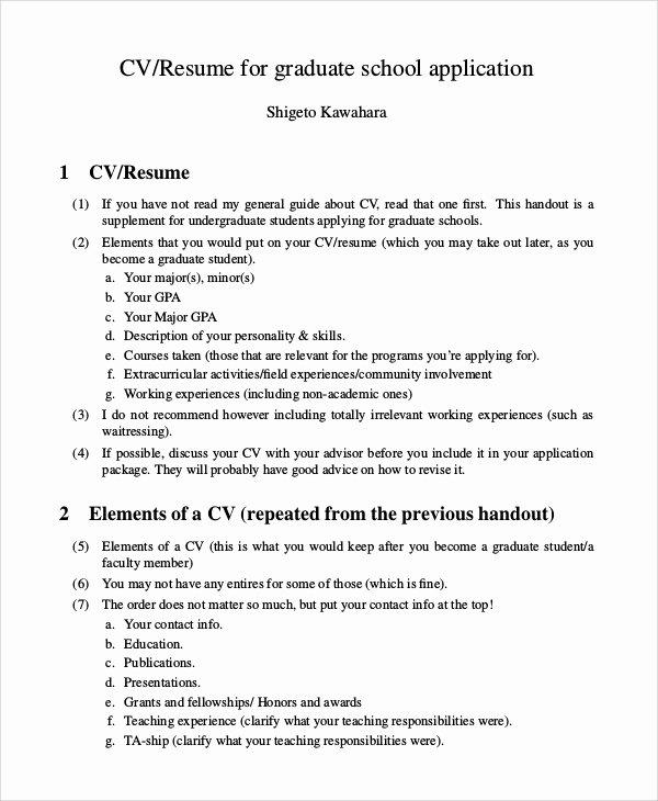9 Sample Graduate School Resumes