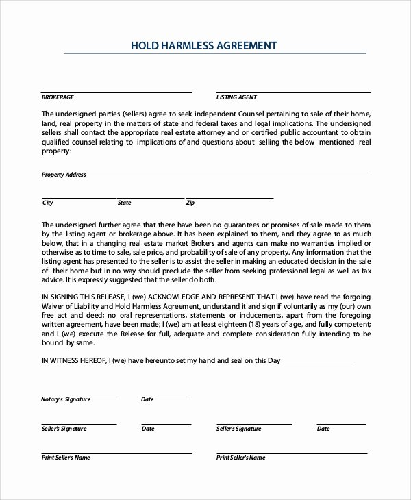 9 Sample Hold Harmless Agreements – Pdf Word