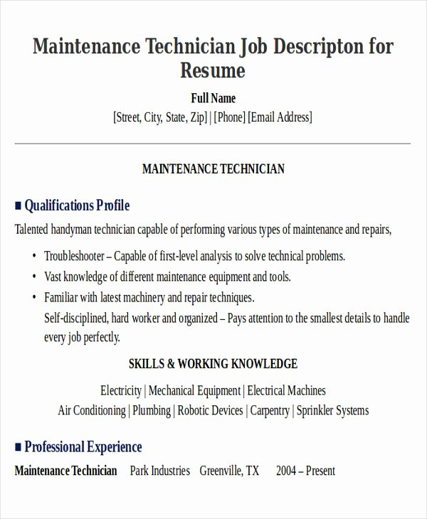 9 Sample Maintenance Technician Resumes