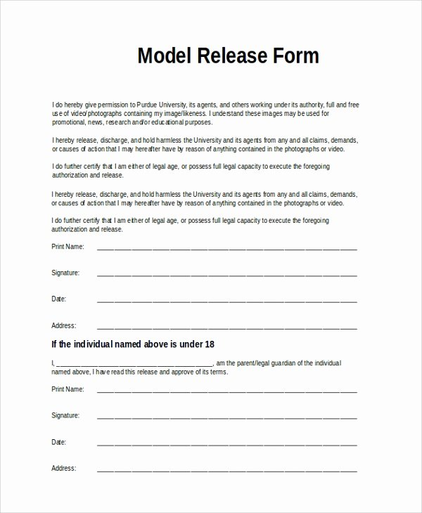 9 Sample Model Release forms
