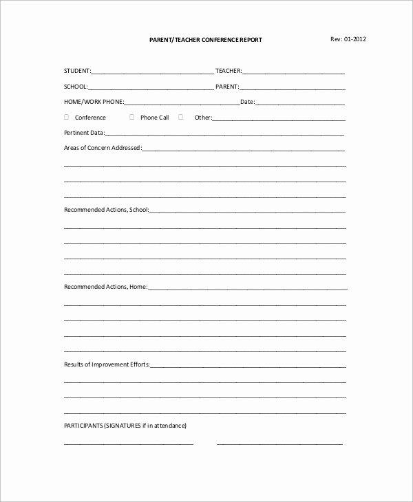 9 Sample Parent Teacher Conference forms