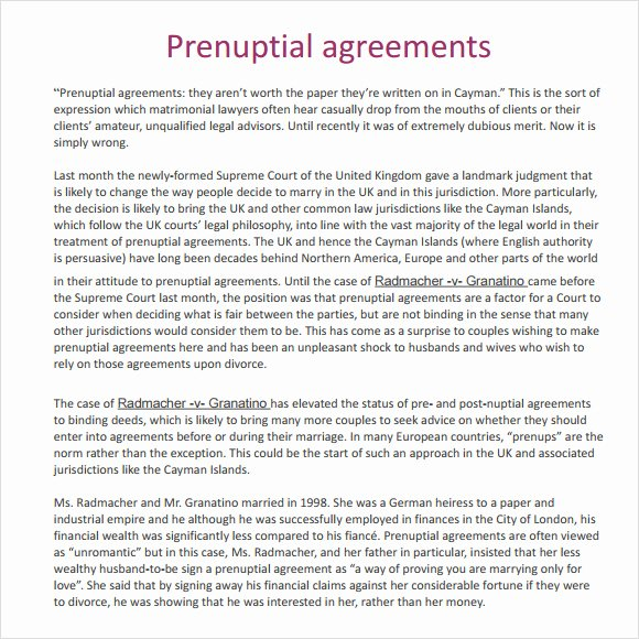 9 Sample Prenuptial Agreements
