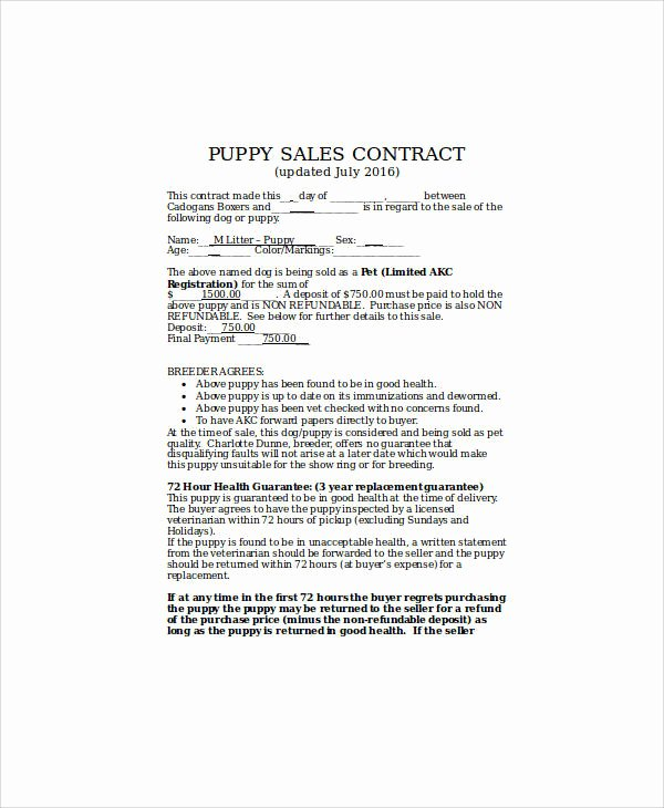 9 Sample Puppy Sales Contracts