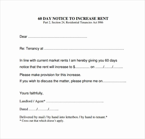9 Sample Rent Increase Letter Templates – Pdf Word