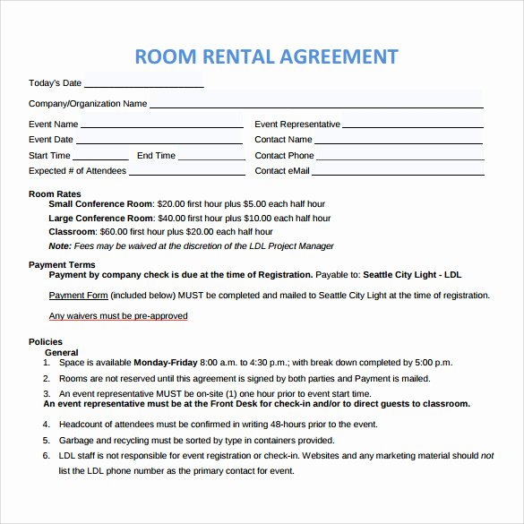 9 Sample Room Rental Agreements